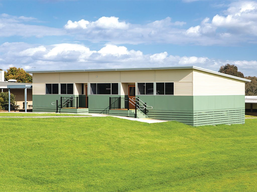 This building is a five module general purpose classroom that provides the school with two teaching spaces and entails five days' construction time.