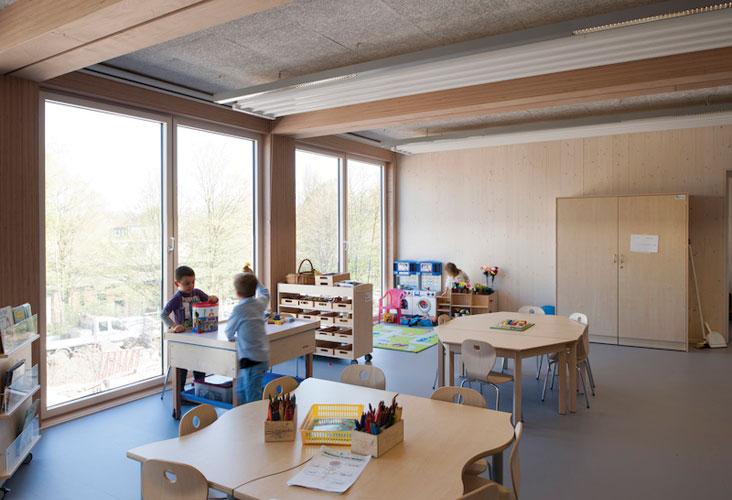 Europaische Schule Frankfurt was built using a modular timber system.