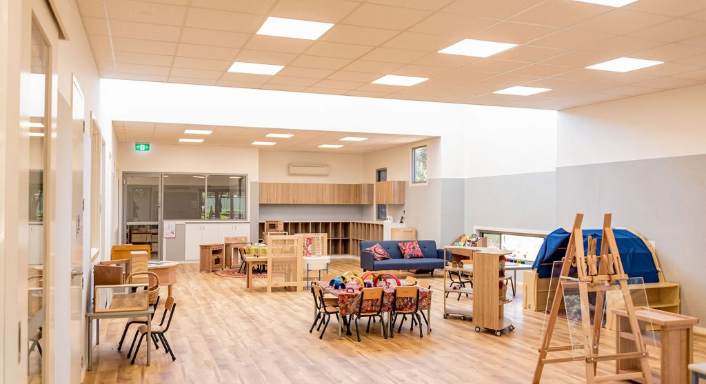 Inside picture of the Prefabricated Early learning centre at Strathfieldsaye.  Built by Swanbuild/Pretect.