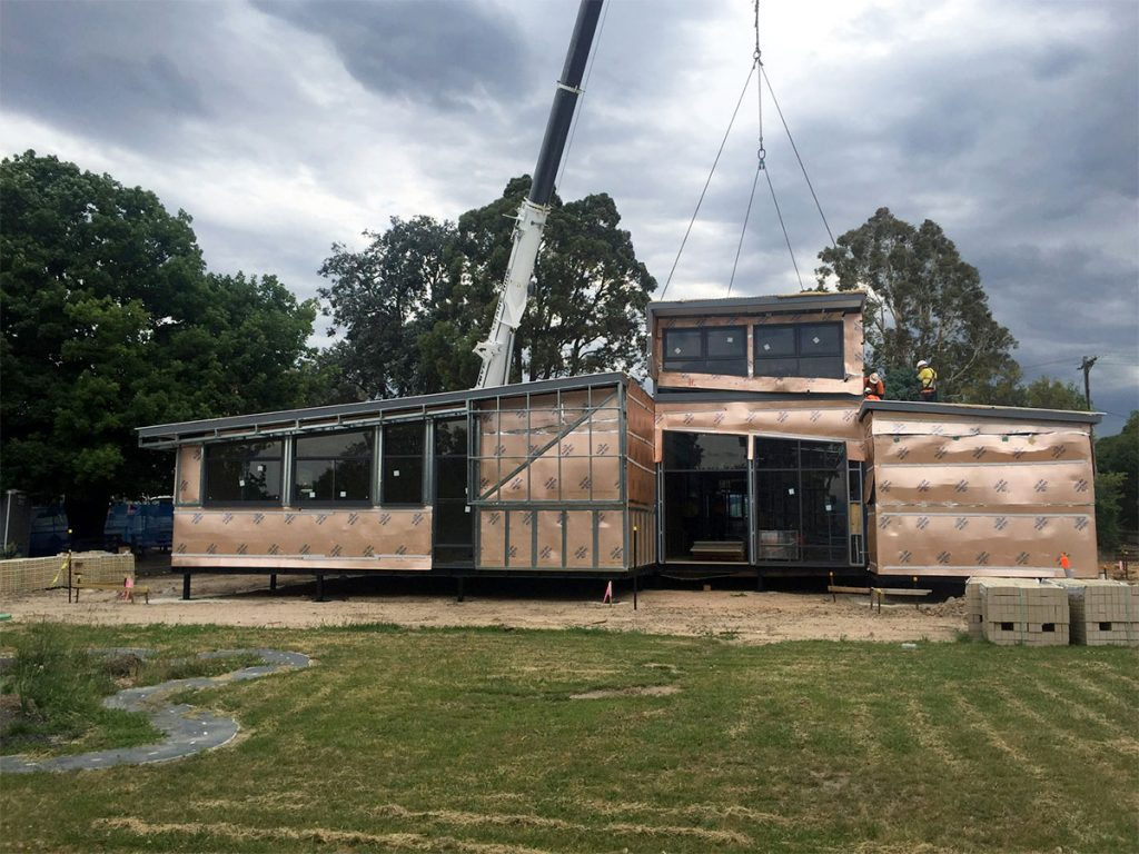 Work in progress: a school project in Moe, regional Victoria. CAMPH is collaborating on the creation of a modular building model entailing design for disassembly and re-use.