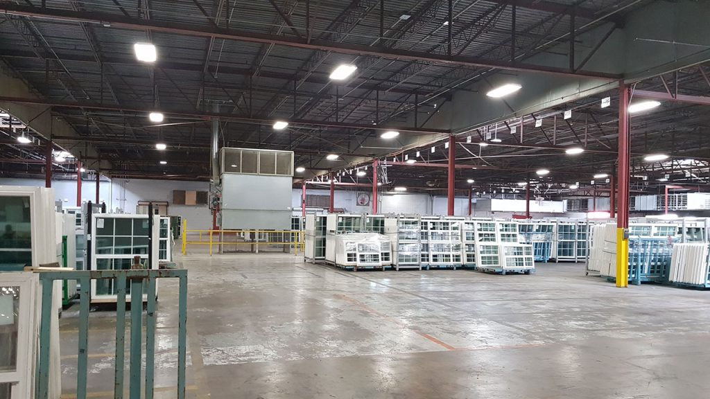 Clayton Homes: Packaged window sets await distribution.