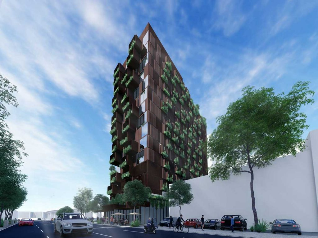 Render of a Raw Property Studio retirement living scheme in South Brisbane, using CLT.