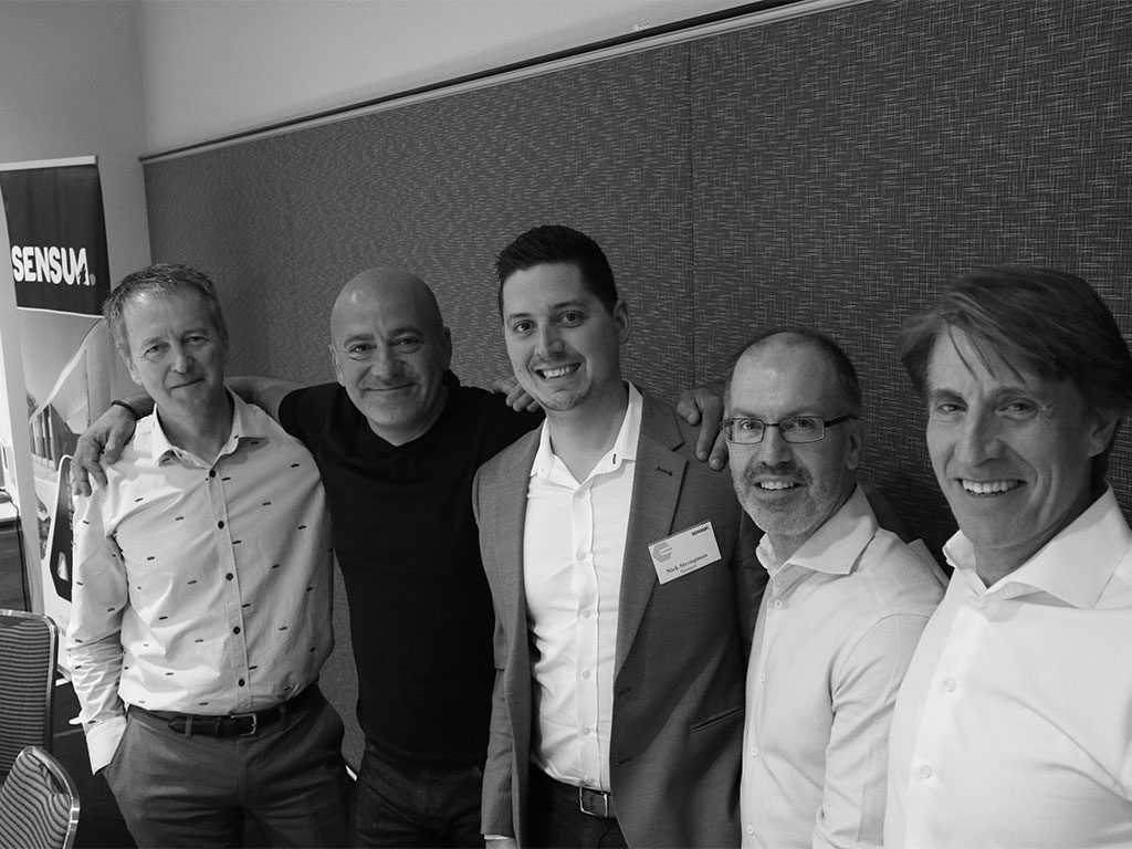 L-R: David Tweedie, Principal - Hayball; George Argyrou, Joint Managing Director - Hickory Group; Nick Strongman, CEO - Sensum; Simon McCarthy, Senior Structural Engineer - Wallbridge Gilbert Aztec; Warren McGregor, CEO - prefabAUS