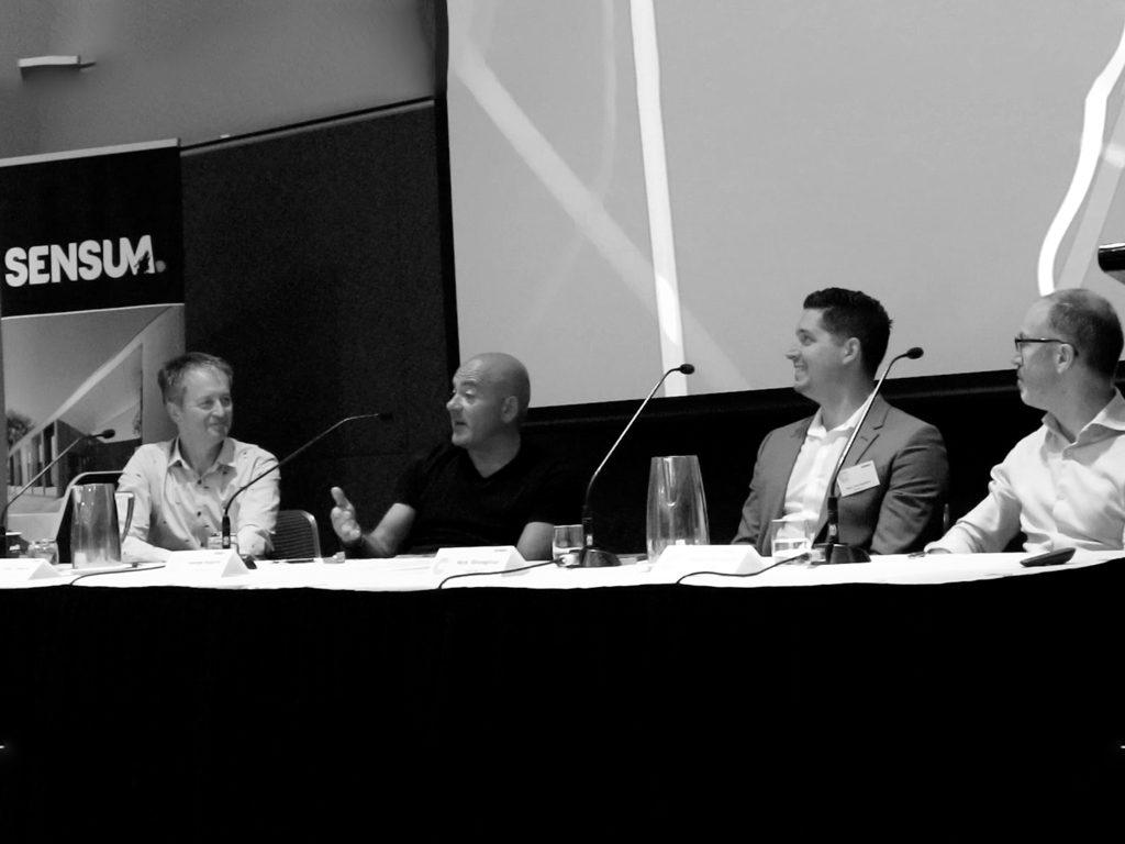L-R: David Tweedie, Principal - Hayball; George Argyrou, Joint Managing Director - Hickory Group; Nick Strongman, CEO - Sensum; Simon McCarthy, Senior Structural Engineer - Wallbridge Gilbert Aztec.