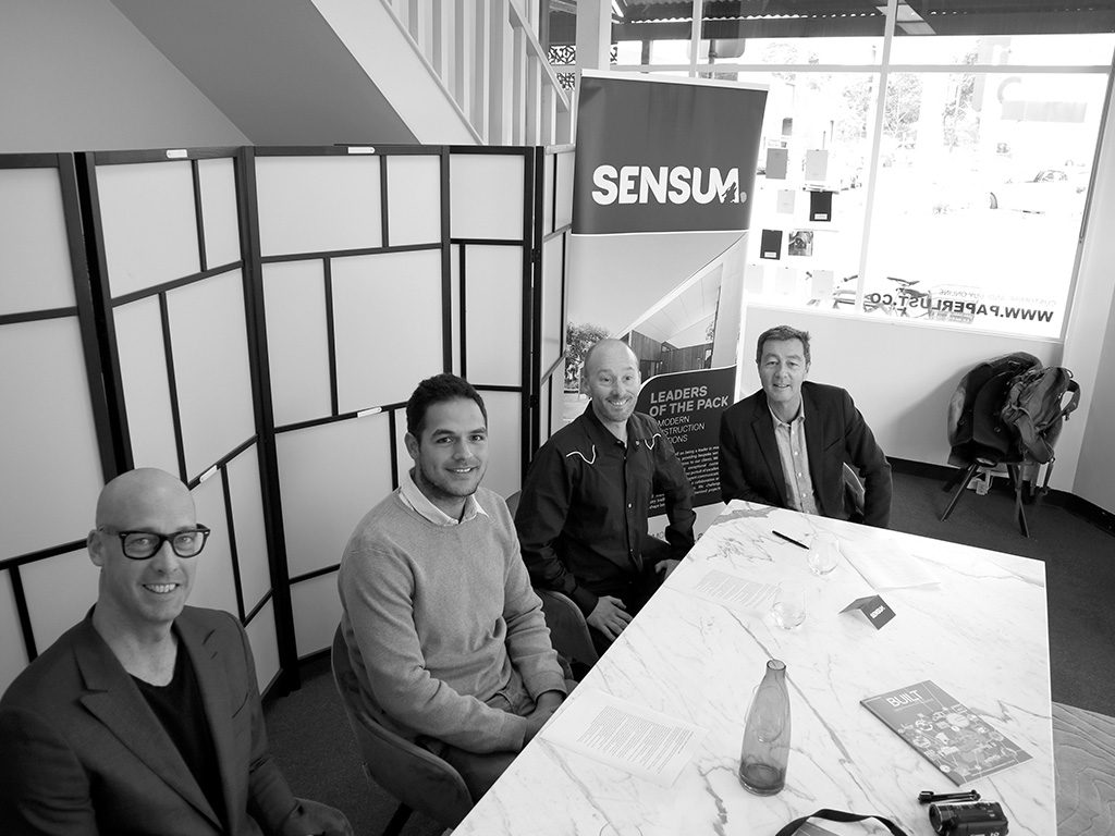 L-R: Fraser Paxton, founder - Fraser Paxton Architects; Mario Posala, Studio Design Manager - Arkit; David Saunders, founder - S2 Design; John Baxter, Project Manager - Sensum