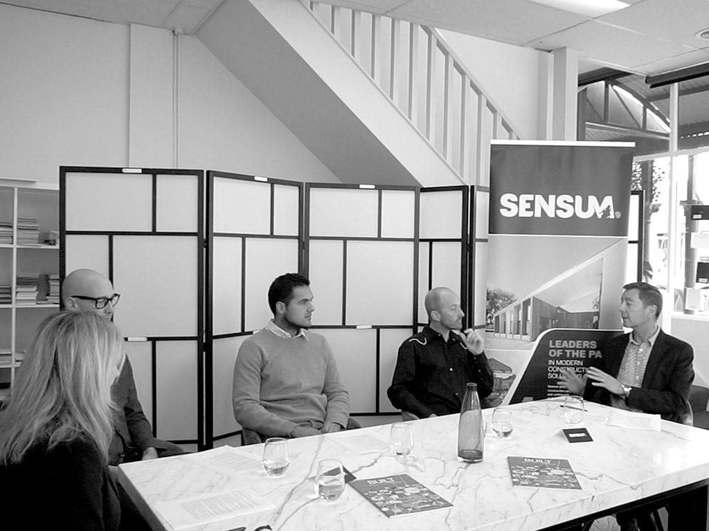 L-R: Belinda Smart, Editor - Built Offsite ; Fraser Paxton, founder - Fraser Paxton Architects; Mario Posala, Studio Design Manager - Arkit; David Saunders, founder - S2 Design; and John Baxter, Project Manager - Sensum.