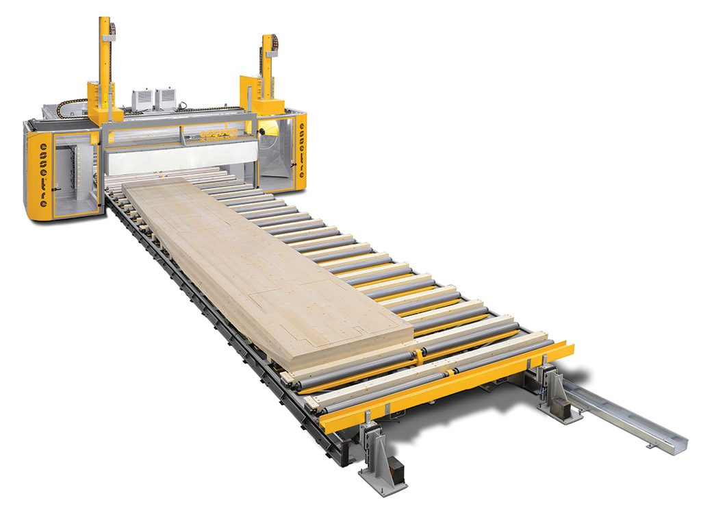 Essetre Techno Wall CNC machine for processing CLT panels & curved glulam beams.