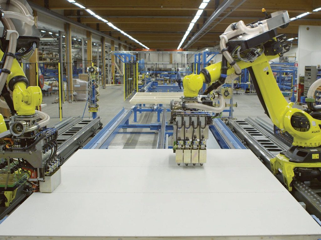 The Randek ZeroLabor Robotic System manufactures a closed wall panel.