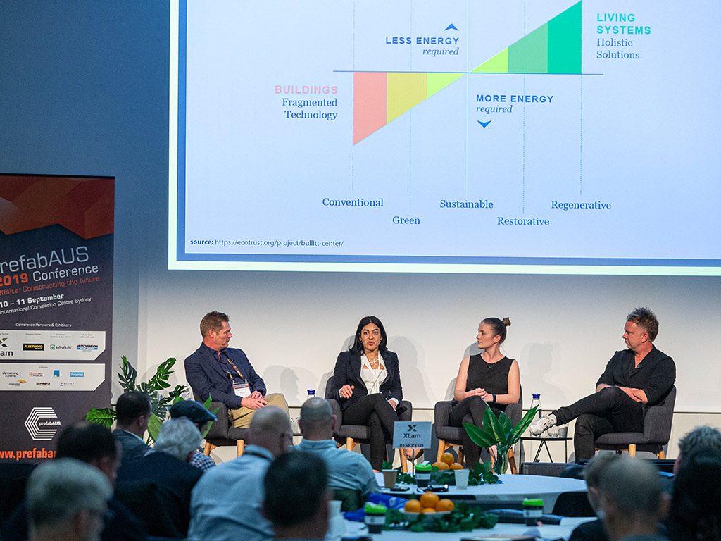 The Sustainability Panel: L-R - Brendan Pope, Head of Innovation + Marketing, Fleetwood Australia; Alexia Lidas, Managing Director, DesignIntelligence Australia; Heather Bolt, Engineer, ARUP; International Keynote Speaker Kasper Guldager Jensen, Senior Partner, 3XN.