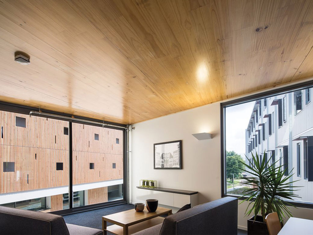 Inveresk Apartments, UTAS, interior: 120 apartments, constructed by principal construction contractor Hutchinson Builders, were prefabricated in a nearby warehouse as individual modules before being transported to site and installed using a modular build process.