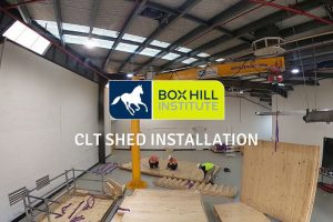 box hill institute clt shed installation