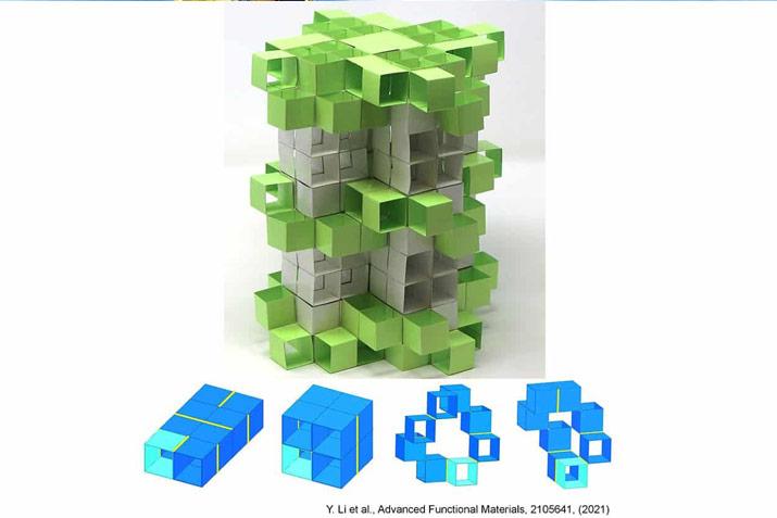 3D Kirigami modular building blocks