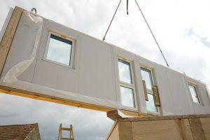 UK modular housing panelised wall installation